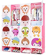 DALIZHAI777 Portable Wardrobe for Hanging Clothes, Combination Armoire, Modular Cabinet for Space Saving,Storage Organizer...