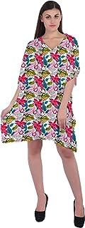 RADANYA Floral Cotton Caftan Dresses for Women V Neck Short Kaftan Cover Up Summer Dress