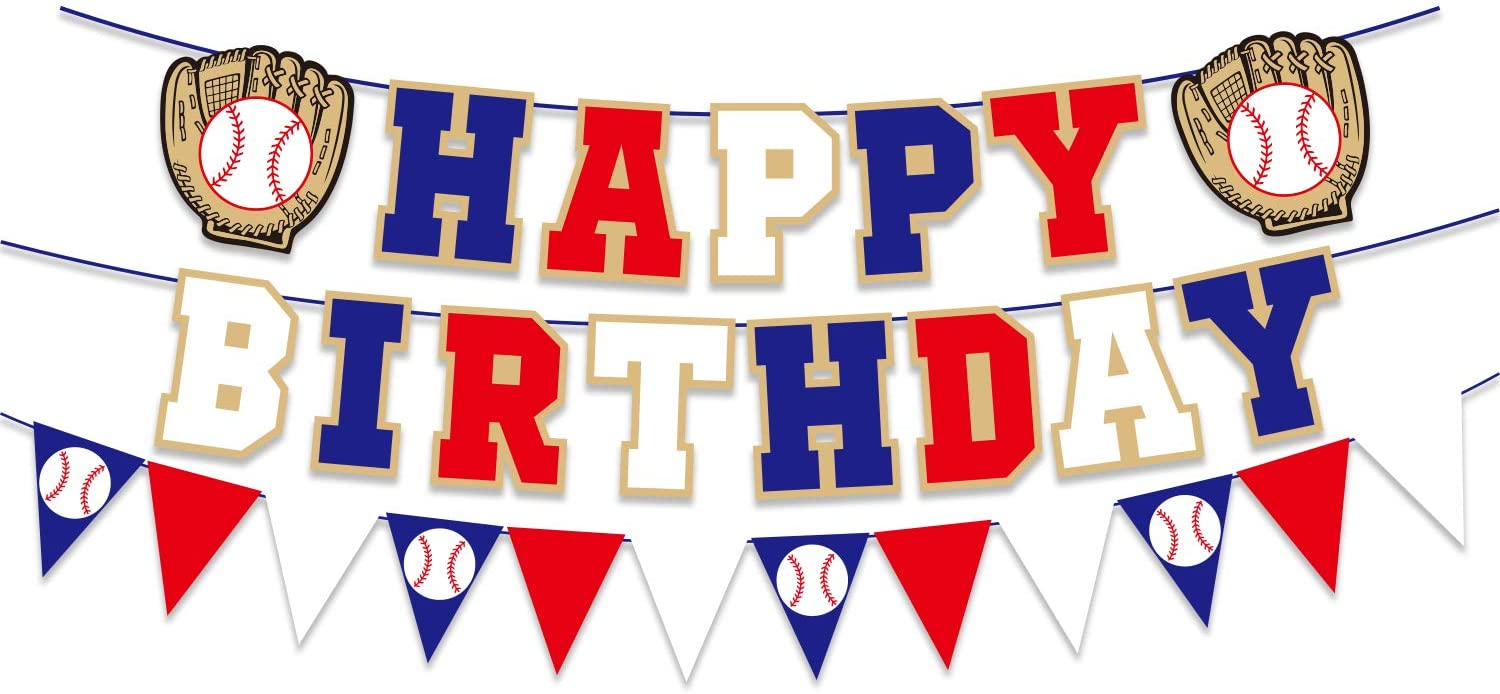 Happy Birthday Banner for Baseball Birthday Decorations, Sports Theme Birthday Party Supplies, Baseball Pennant Bunting Party Supplies for Boys (Red White and Blue)