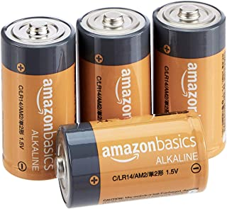 AmazonBasics C Cell 1.5 Volt Everyday Alkaline Batteries - Pack of 4 (Appearance may vary)