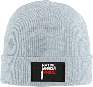 SYAyeah Native American Pride Soft Cable Knitted Beanie Hat Winter Thick Skull Caps Black