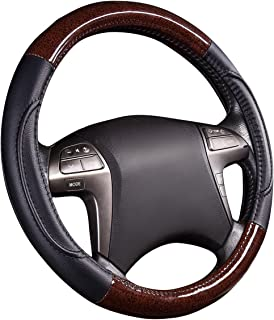 NEWARRIVAL-HORSE KINGDOM Genuine Leather Steering Wheel Covers Breathable Air-mesh Non-slip Set (black)