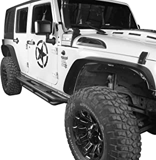 u-Box Steel Fender Flares Kit Competible with 2007-2018 Jeep Wrangler JK (2/4 Doors), Heavy-Duty Solid Black Textured Off-Road Fenders for Jeep Unlimited JK Front & Rear Flat (4pcs)