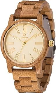 Women Wood Watch,MUJUZE Luxury Style Slim Lightweight 40mm Women Men Fashion Wooden Watch Gift Box (Bamboo)