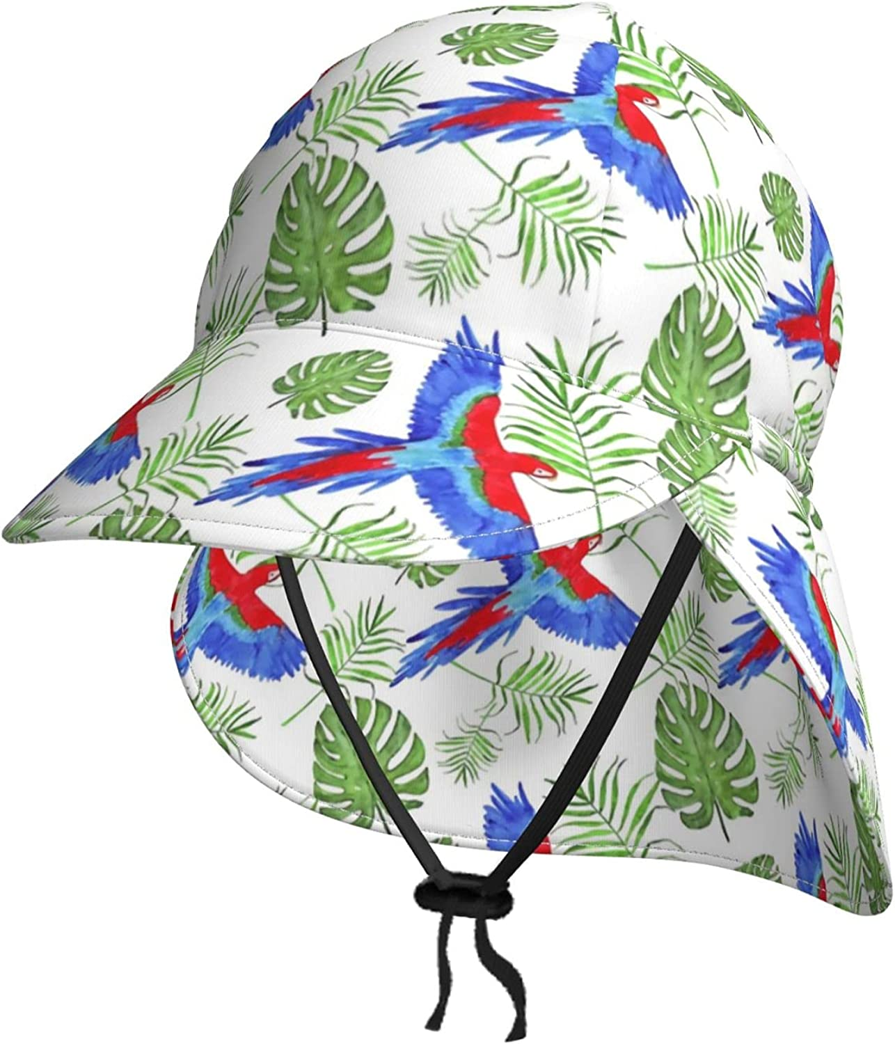 Animer and price revision Kids Sun Mail order Hat Tropical Leaves Summer Baby H Blue Bucket Birds