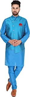 SKAVIJ Men's Silk Blend Traditional Kurta Pajama and Jacket Set