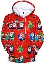 KINGOLDON Christmas Women 3D Christmas Print Party Long Sleeve Hooded Sweatshirt
