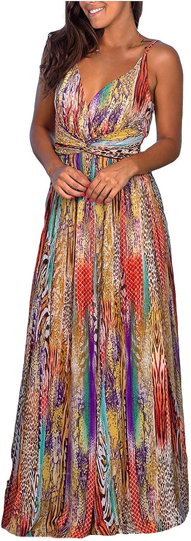 JINF Pockets Dress,Women's Casual Sleeveless Camisole V-Neck Print Maxi Tank Long Dress,Plus Size Summer Beach Dress