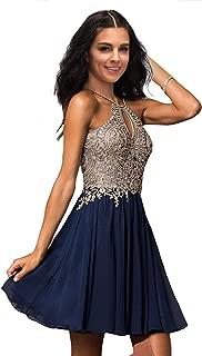 Junior Halter Gold Applique Prom Dresses 2019 Short Sleeveless Chiffon Homecoming Party Dress