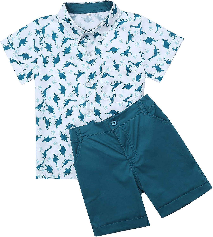Agoky Kids Boys 2Pcs Short Sleeves Dinosaur Printed Button Down Shirt Tops with Short Pants Summer Casual wear