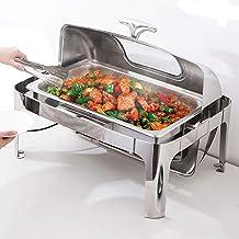 Chafing Dish en Acier Inoxydable, Chauffe Plat, 13L Chauffe Plat Electrique Buffets Chauffants avec 3 Tailles de Palettes ...