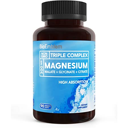 BioEmblem Triple Magnesium Complex   300mg of Magnesium Glycinate, Malate, & Citrate for Muscle Relaxation, Sleep, Calm, & Energy   High Absorption   Vegan, Non-GMO   90 Capsules