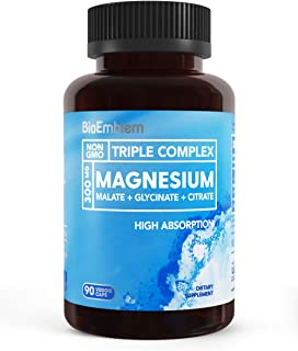 BioEmblem Triple Magnesium Complex | 300mg of Magnesium Glycinate, Malate, & Citrate for Muscle Relaxation, Sleep, Stress ...