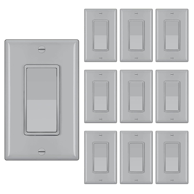 10 Pack BESTTEN Single Pole Decorator Popular brand Light Wall W with Denver Mall Switch