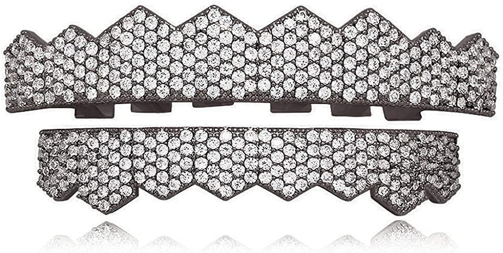 LuReen Black Micro Pave Full CZ Grillz Teeth Top and Bottom Grillz with Extra 2 Molding Bars