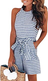 PARTY LADY Women's Casual Striped Sleeveless Waist Belted Zipper Back Wide Leg Loose Jumpsuit Romper with Pockets