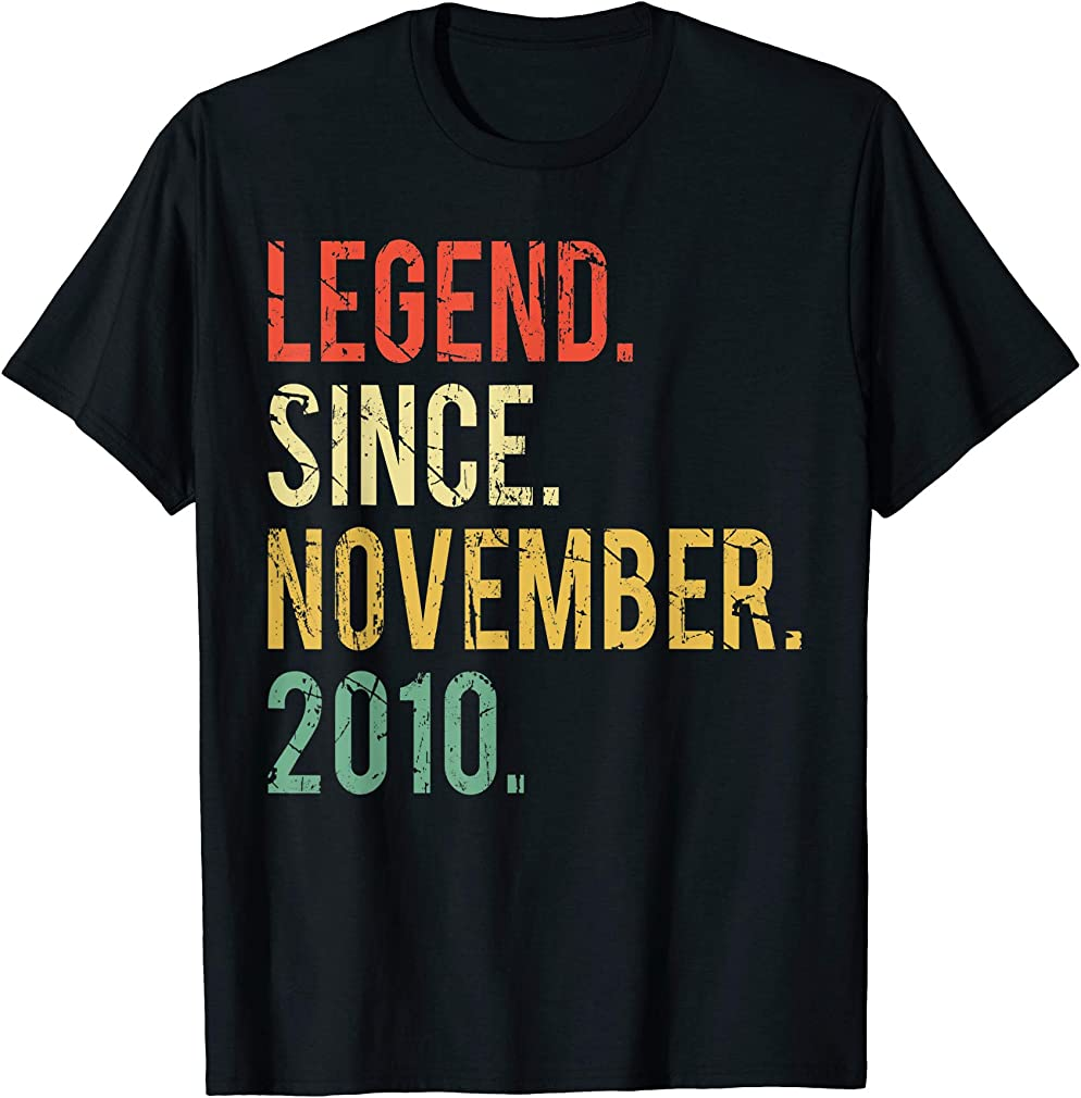 9 Years Old Gifts Shirt- Legend Since November 2010 T-shirt