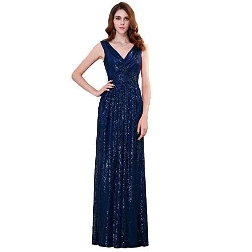 Kate Kasin Women Sequin Bridesmaid Dress Sleeveless Maxi Evening Prom  Dresses cffd1e0c4