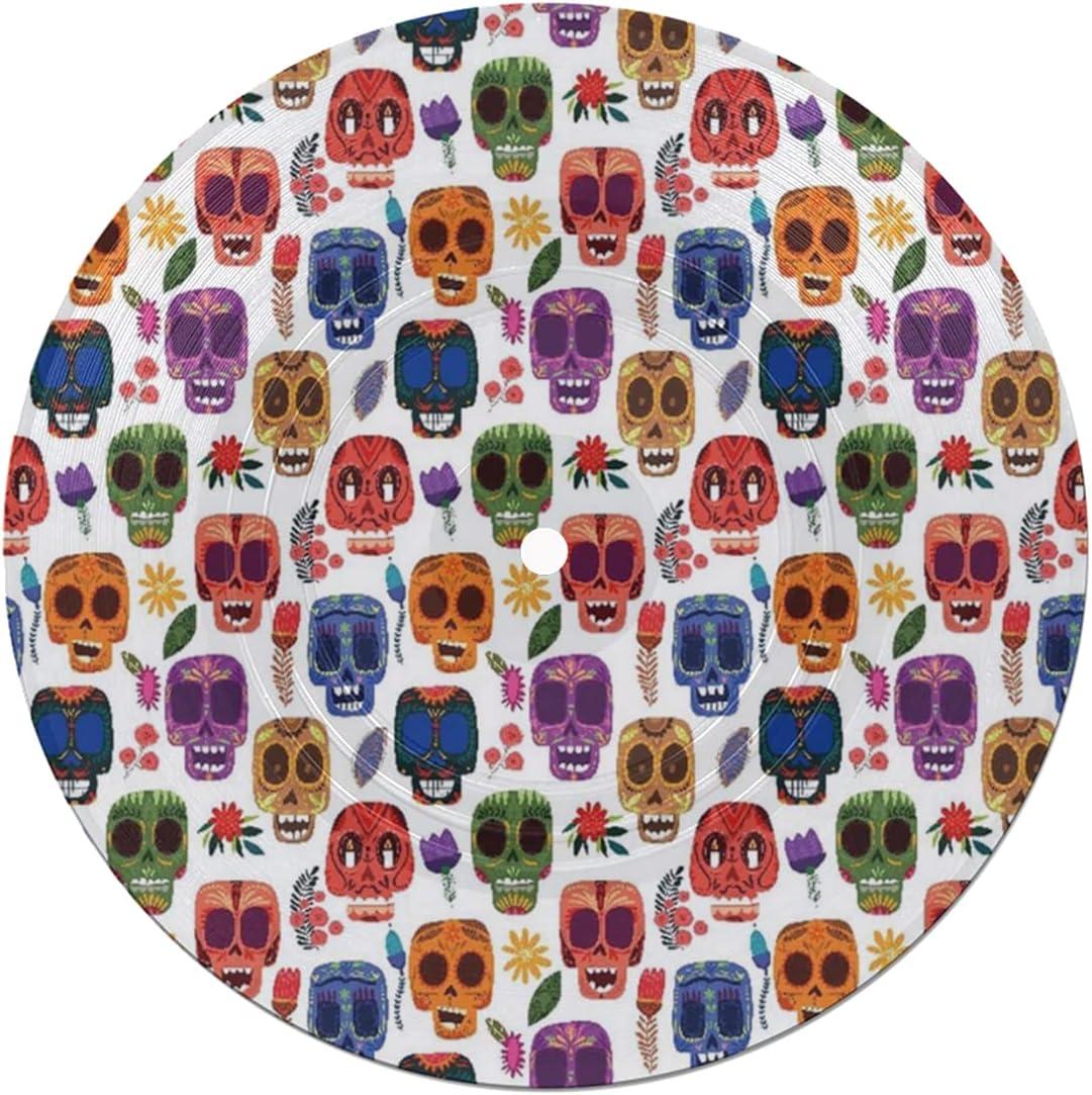 Posavasos de Disco,decoración del día de los Muertos,máscara de Miedo de Madera Tribal Africana con Dibujos Animados Divertidos,Absorbente 6 Posavasos de Disco de protección eficaz para Escritorio