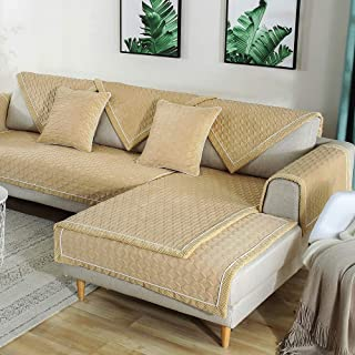 TEWENE Sofa Cover, Velvet Couch Cover Anti-Slip Sectional Couch Covers Sofa Slipcover for Dogs Cats Pet Love Seat Recliner Armrest Backrest Cover Beige (Sold by Piece/Not All Set)