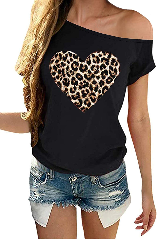 SENSERISE Womens Casual Leopard Heart T Shirt Off The Shoulder Tops Love Short Sleeve Shirts