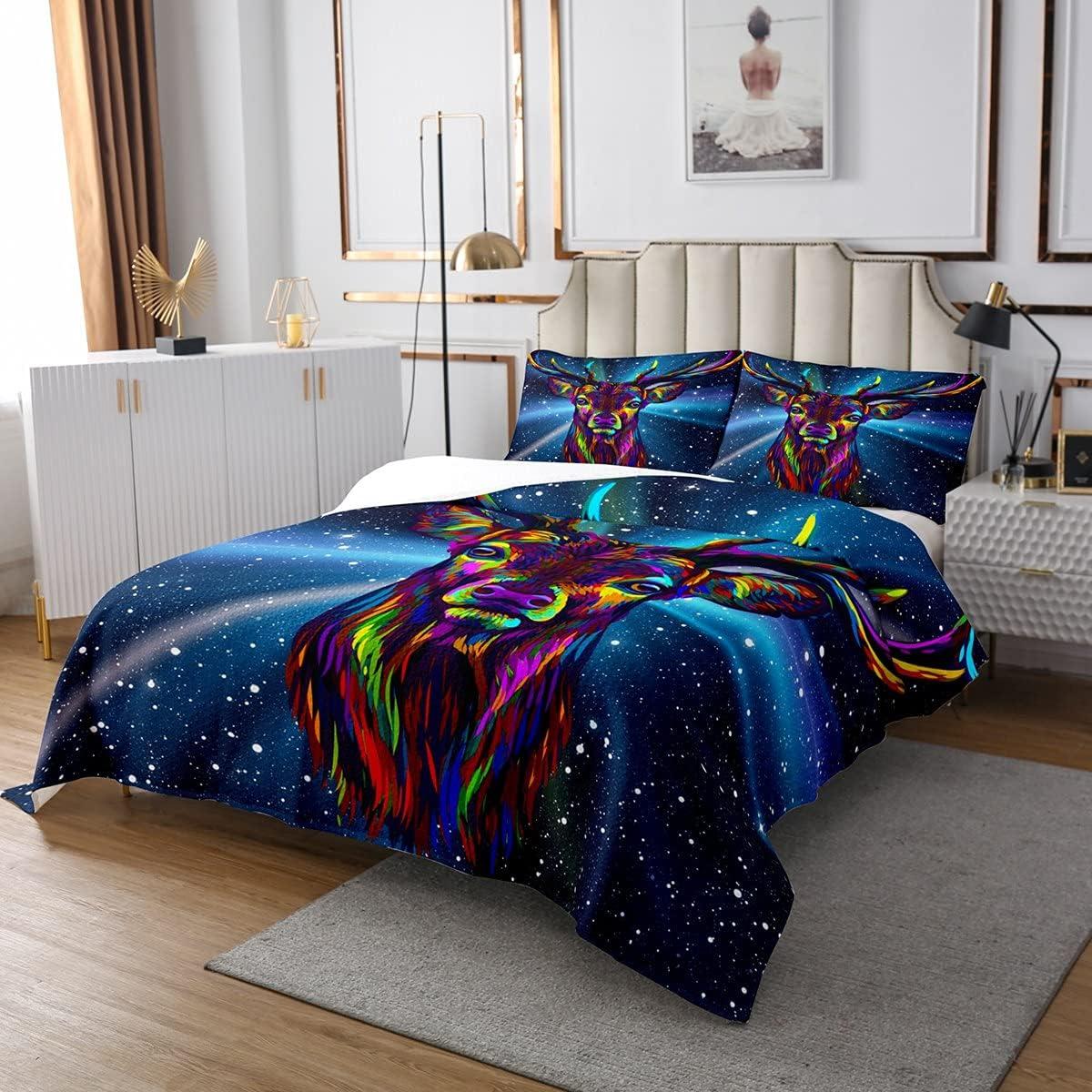 Erosebridal Deer Bedding Set Antlers Bedspread Elegant Starry Galaxy price Sky