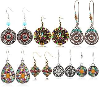 7 Pairs Bohemian Earrings National Retro Rhinestone Ear Stud boho Eardrop