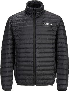 OURCAN Black Featherweight Men's Down Jacket,Outdoor Adult Winter Lightweight Winter Coat,Easy Care,Packaway Bag,Water Res...
