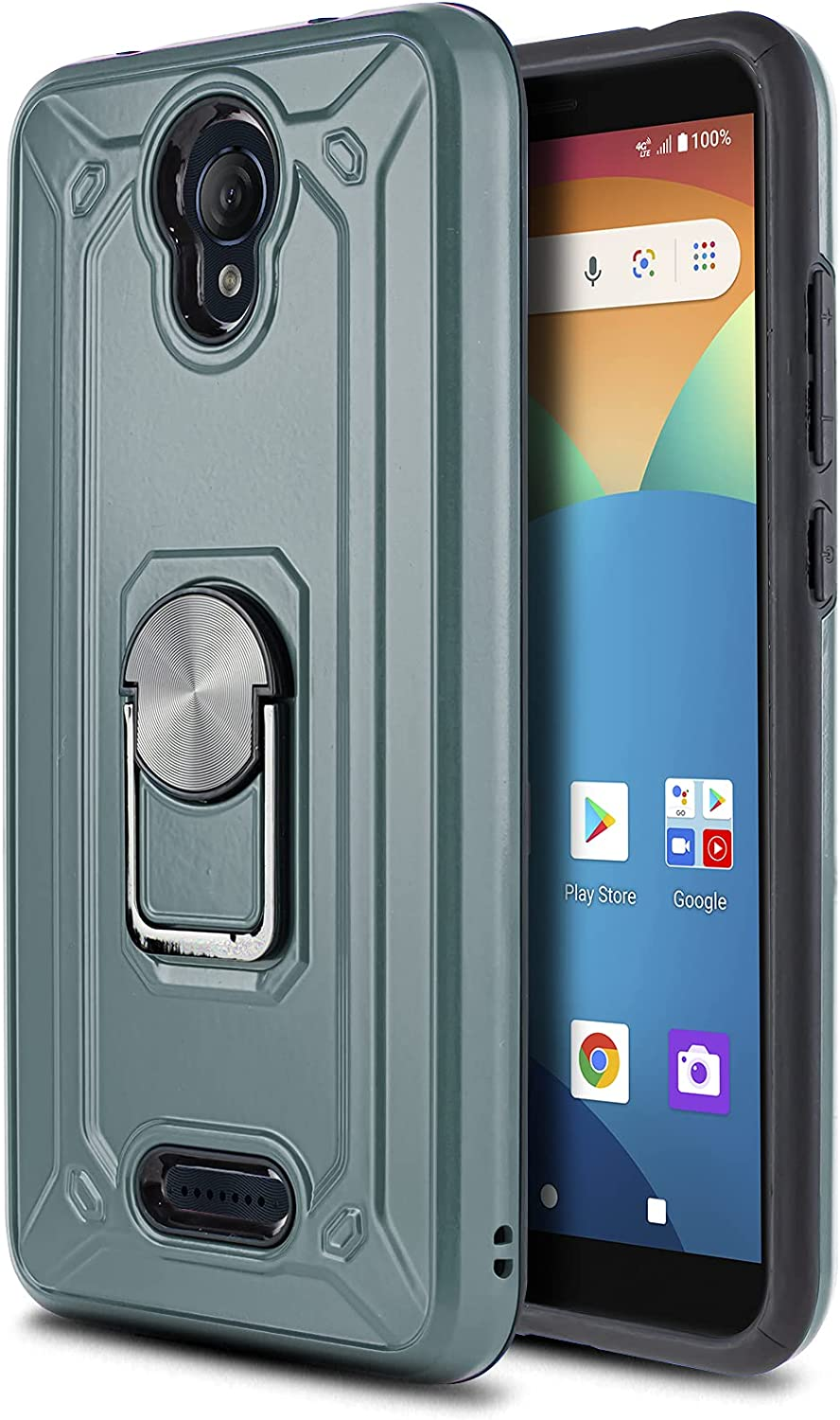CaseMart Phone Case for [AT&T Motivate (V341U) / AT&T Fusion Z (V340U)], [Loop Series][Air Force Blue] Rotating Ring Cover with Built-in Kickstand for AT&T Motivate & Fusion Z (AT&T Prepaid Phone)