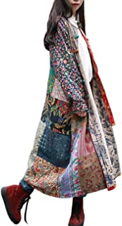 Women's Trench Coat Floral Print Jacket Chinese Style Patchwork Outwear