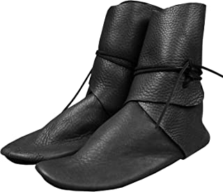 Syktkmx Mens Renaissance Slip on Loafer Boots Medieval Cosplay Pirate Viking Tied Halloween Cuff Shoes