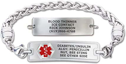 Divoti Custom Engraved Medical Alert Bracelets for Women, Stainless Steel Medical Bracelet, Medical ID Bracelet w/Free Eng...