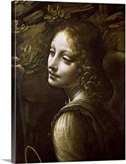 Detail of The Angel, from The Virgin of The Rocks Canvas Wall Art Print, 18