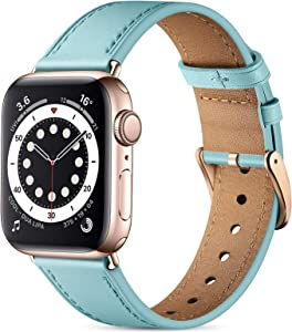 Easuny Leather Band Compatible with Apple Watch SE 40mm 38mm iWatch Series 6 5 4 3 2 1, Classical Elegent Genuine Leather Strap Wristband Replacement Accessories for Women Men,Tiffany Blue