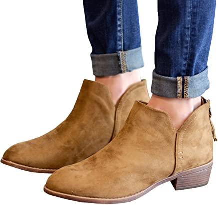92d232e9b Womens Chunky Zipper Textured Closed Pointed Toe Low Heel Solid Western Ankle  Booties Shoes