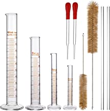 Aozita Glass Graduated Cylinder Set - 100 ml 50 ml 10 ml 5 ml Measuring Cylinder Set with 2 Glass Stirring Rods, 2 Droppers and 2 Brushes - Thick 3.3 Borosilicate Glass & Lab Accuracy Standard