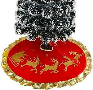 Yogogo Peluche Jupe Arbre De NoëL Rouge 90cm Christmas Tree Skirt pour Tree Doux Simple DéCoration De NoëL Au Bout De Sapin FêTe DéCor