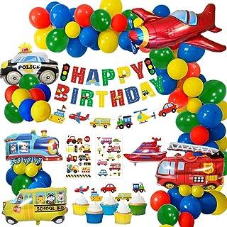 MMTX Birthday Party Decoration Boys, Happy Birthday Banner Transport Vehicles Foil Balloons Plane Train PoliceCar School B...