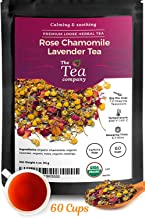 Rose Chamomile Lavender Herbal Tea 60 Cups – Stress Relief Bedtime Calming and..