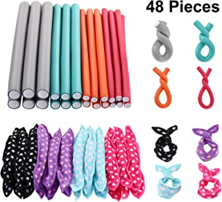 48 Pieces Hair Curler Rods Set 24 Pieces 9 Inch Flexible Curling Rods Twist-flex Rods in 4 Size and 24 Pieces Sleep Foam H...