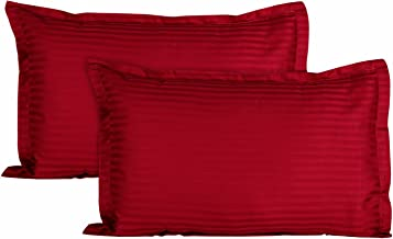 Ahmedabad Cotton Luxurious Sateen Striped Pillow Cover/Case Set (2 Pcs) 300 Thread Count - Ruby Red
