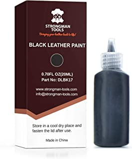 Strongman Tools | Black Leather Paint | Non Toxic Premium Grade | Use to Restore and Repair Your Black Leather Items | for Handbags, Car Seats, Couches, Sofas, Boats, Jackets and Shoes