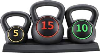 Sponsored Ad - Kettlebell Set 3-Piece Wide Handle HDPE Coated 5lb,10lb,15lb Weights Kettlebells with Storage Rack Exercise...