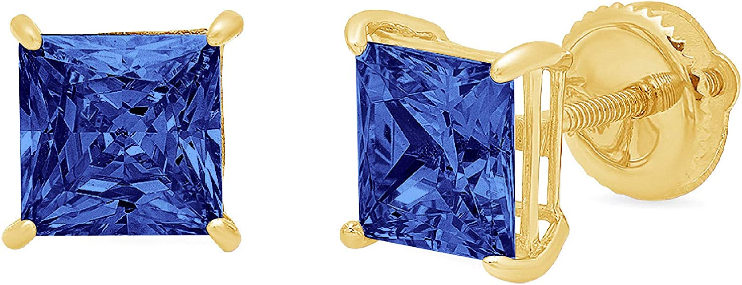 0.94cttw Brilliant Princess Cut Solitaire Flawless Genuine Simulated CZ Blue Tanzanite Gemstone Unisex Pair of Designer Stud Earrings Solid 14k Yellow Gold Screw Back