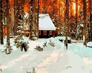Kit de pintura al óleo por número para niños adultos principiantes de 40 x 50 cm – Arboles de fuego y nieve pesada, dibujo con pinceles decoración de Navidad regalos Frame