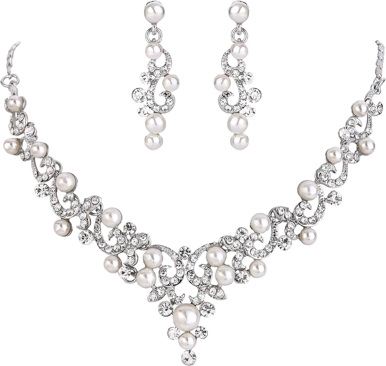 BriLove Women's Wedding Bridal Crystal Simulated Pearl Filigree Vine Y-Necklace Dangle Earrings Set