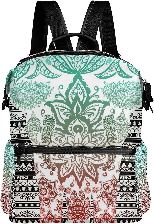 LORVIES Elephant Mandala School Rucksack Travel Backpack