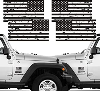 Reflective 2 Pairs Subdued Tattered Reverse Forward American Flag Sticker 2.7
