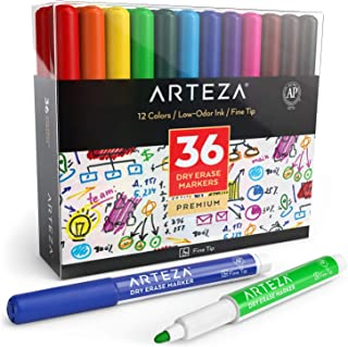 ARTEZA Dry Erase Markers, Pack of 36 (with Fine Tip), 12 Assorted Colors with Low-Odor Ink, Whiteboard Pens is perfect for School, Office, or Home