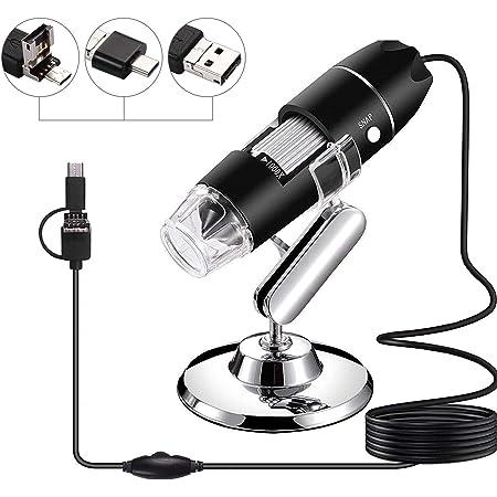 GQYLQ Wireless Digital Microscope Microscope Endoscope 8LED 1000X 10MP USB Digital Mini Pocket Handheld Microscope Color : Black, Size : One Size